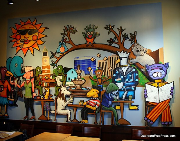 Award winning mural in Dearborn Starbucks by Daniel Cascardo