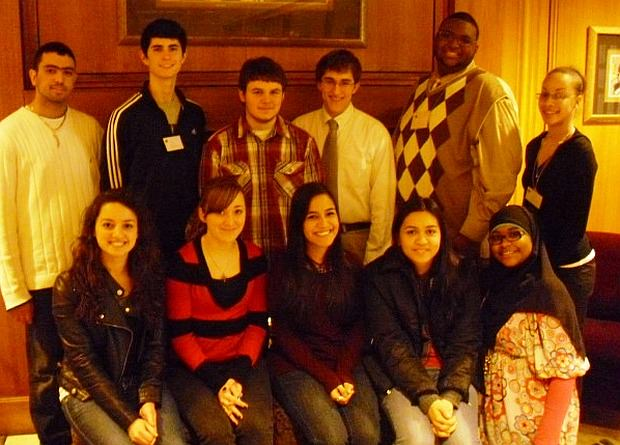 Celebrating Youth Month with the Rotary Club of Dearborn are high school students, front row left to right, Aseile Bazzi, Dearborn High School (DHS); Amanda Fairchild, Henry Ford Academy (HFA); Moira Custodio, Divine Child (DC); Mariam Abdulghani, Fordson High School (FHS); Fatimah Farooq, Edsel Ford High School (EFHS); back row left to right, Mohamed Ali Ghandour, FHS; Matthew Means, DHS; Dan Baier, HFA; Andrew Rush, DC; Darnell Gray Shawver and LeAnn Allan, Advanced Technology Academy. Not pictured is Mohamad Farhat, EFHS.