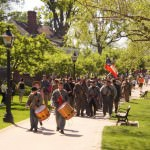 Confederate soldiers at Greenfield Village march to Walnut Grove Field