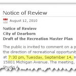 Recreation Master Plan Review Slated for September 14th