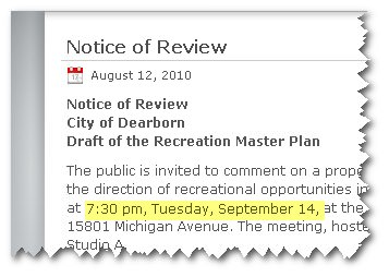 Recreation Plan Review