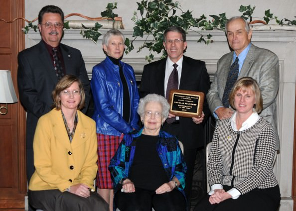"Pictured here are (standing, from left): Robert Platte, Exchange Club; Joan Reed, AAUW; Service Club Member of the Year Doug Feldkamp, Dearborn Outer Drive Kiwanis; and Leslie ""Pat"" Abbott, Dearborn Kiwanis. Seated: (from left): Karen Marzonie, Garden Club; Eleanor Musgrove, widow of nominee Weldon B. Musgrove, Fairlane Sunrise Rotary; and Marsha Koet, Dearborn Rotary. Not pictured: Julie Turla, Optimist Club."