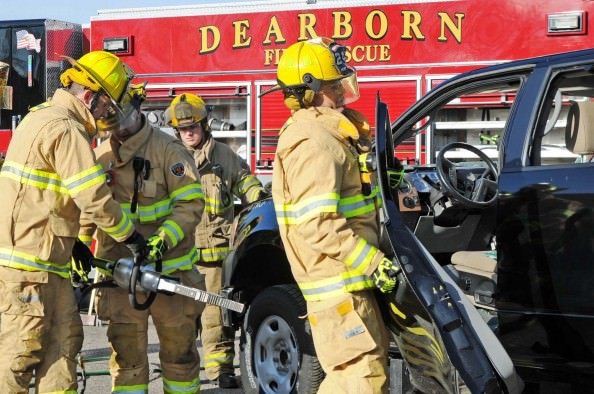 "Dearborn firefighters use powerful new Jaws of Life style rescue equipment to dismantle a vehicle during a training exercise on Dec. 9. With nearly twice the strength of older Jaws of Life, the Res Q Tec is more effective in cutting through the stronger steel used in current model vehicles. The City of Dearborn purchased the equipment using a $97,000 ""Assistance to Firefighters"" grant from the Federal Emergency Management Agency. Ford Motor Company donated 12 late-model cars and trucks so that all 120 Dearborn firefighters can train to use the rescue equipment to dismantle vehicles with ultra strong steel."