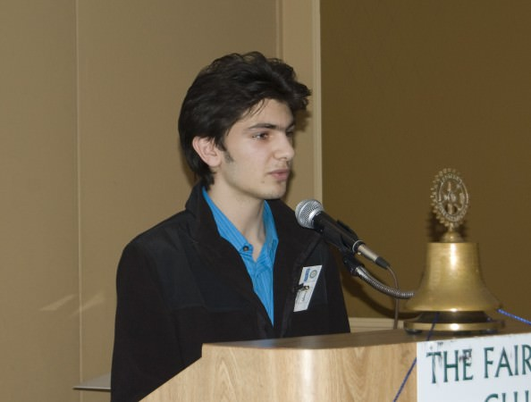 Edsel Ford Student: Hassan Bazzi, one of Rotary's Youth Month guests, asked club members to consider helping the Edsel Ford Model United Nations debate team with a cash contribution.