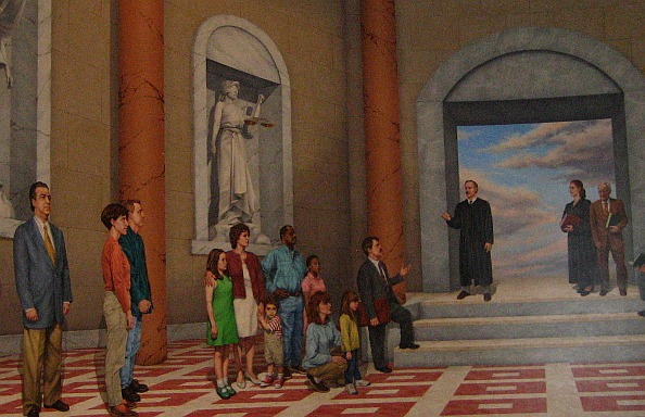 Mural inside 19th District Court, Dearborn, Michigan