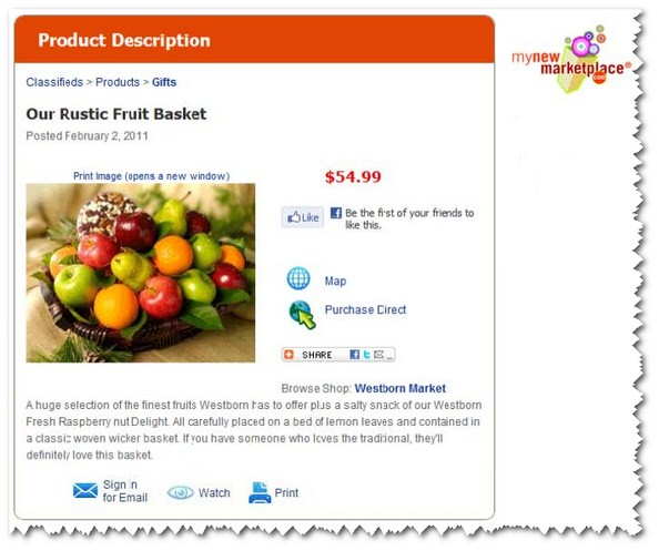 Westborn Market Fruit Basket on MyNewMarketPlace.com