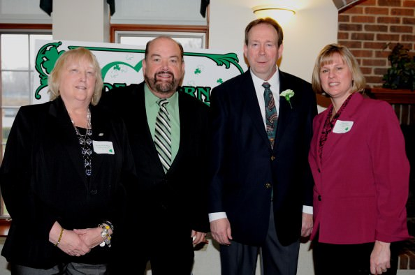 Mayor John B. O'Reilly, Jr. (second from left) and Senior Services Coordinator Marsha Koet (far right) honored Senior Services Volunteers of the Year Cecelia Wylie Pilon (left) and Jeffrey Ponstein (second from right) on March 16 during the Volunteer Appreciation Breakfast.