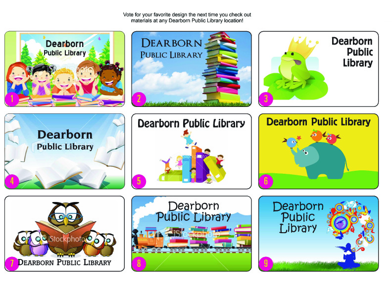 Library card design candidates.