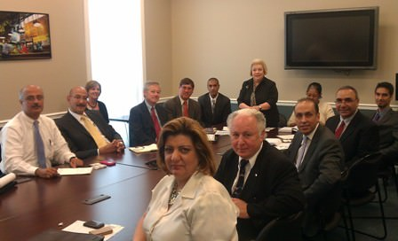 AACC Chairman Ahmad Chebbani and AACC Executive Director Fay Beydoun, first from left, led a nationwide Arab business group to Washington D.C. Wednesday, July 27, 2011 for trade talks at the White House .