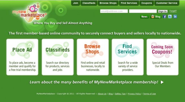 MyNewMarketplace Homepage