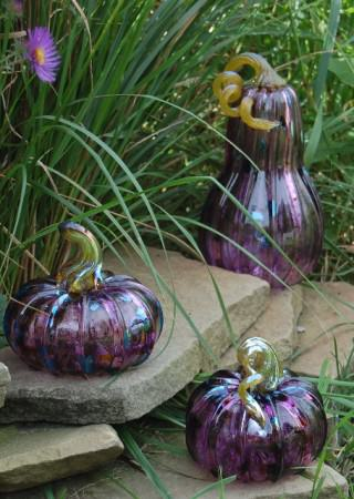 """Glass pumpkins available for purchase at the Glass Academy's """"Glass Pumpkin Fest Show & Sale"""".  Photo credit: M. Plucinsky"""