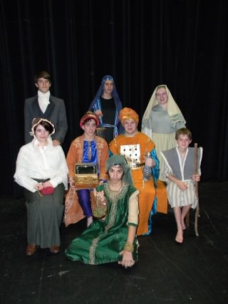 From left, back row: (Magi) Kevin Talanges, (Amahl) Michael Nelson, Annelise Folkema. Middle row: (Magi) Meara Thierry, (Amahl) Nathan Booth, Benjamin Timpf, Brendan Hay. (Amahl) Lucas Ramone.