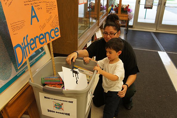 Book Donations for Make a Difference Day - at Dearborn Heights Montesorri