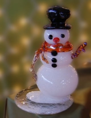 An original hand crafted Snowman from the Glass Academy's  show and sale, December 3rd & 4th.  Photo credit: Glass Academy