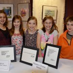 DuVall Elementary fifth grade art class students, from left: Emma Allen, Zoe Rogula, Georgia Ziegler, Kristen Gury, and Brendan Hay. Youth In Arts Night includes art and writing that fifth grade students produced during workshops through Dearborn's Art In Public Places project.
