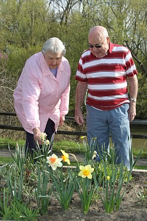 Oakwood Common residents Lillian Darby and John Carver admire spring flowers blossoming in one of the community's raised garden plots.