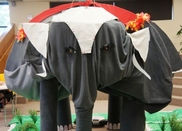 An almost life-size elephant was made by DHMC's middle school students to serve as a backdrop for photo opportunities during the Cultural Festival.