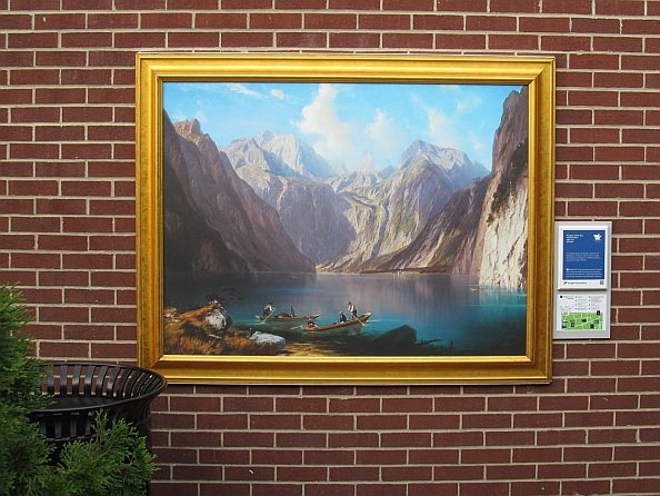 Konigsee (a painting by William Wex) installed in the courtyard outside Starbucks on Michigan Ave. in Dearborn