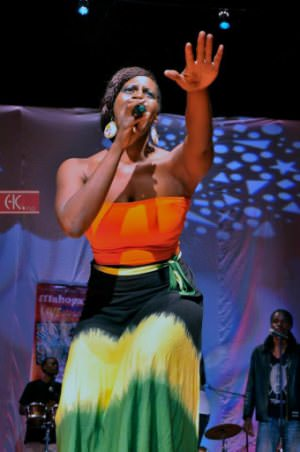 Mahogany Jones performs at the Amaka Arts Festival in Zambia