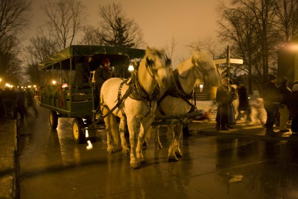 Horse Drawn Carriage at Holiday Nights in Greenfield Village - Dearborn, Michigan