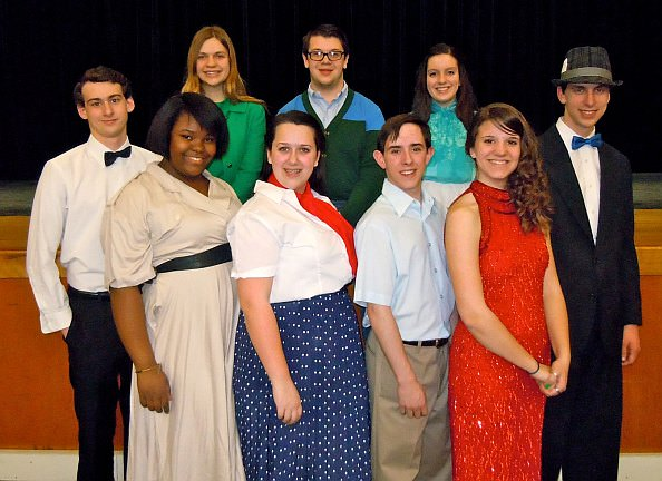 Edsel Ford High School students in principal roles in Babes in Arms, from left, back row: Kevin Talanges (senior) as Lee Calhoun, Hannah Joiner (junior) as Phyllis Owen, Ben Timpf (junior) as Gus Field, Sarah Remily (sophomore) as Terry Thompson, Michael Nelson (sophomore) as Press Agent. Front row: Teria Berry (sophomore) as Bunny Byron, Clare Russell (senior) as Susie Ward, Nathan Booth (junior) as Valentine White, and Joanna Frantz (junior) as Jennifer Owen.