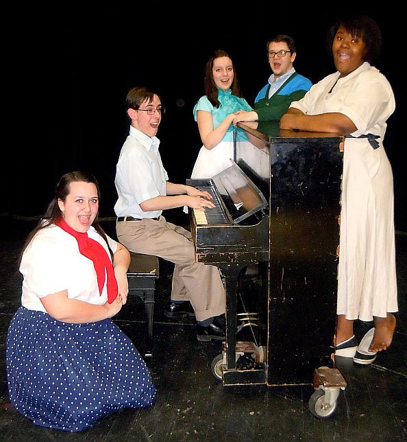 Edsel Ford High School students in principal roles in Babes in Arms, from left: Clare Russell (senior) as Susie Ward, Nathan Booth (junior) as Valentine White, Sarah Remily (sophomore) as Terry Thompson, Ben Timpf (junior) as Gus Field, and Teria Berry (sophomore) as Bunny Byron.
