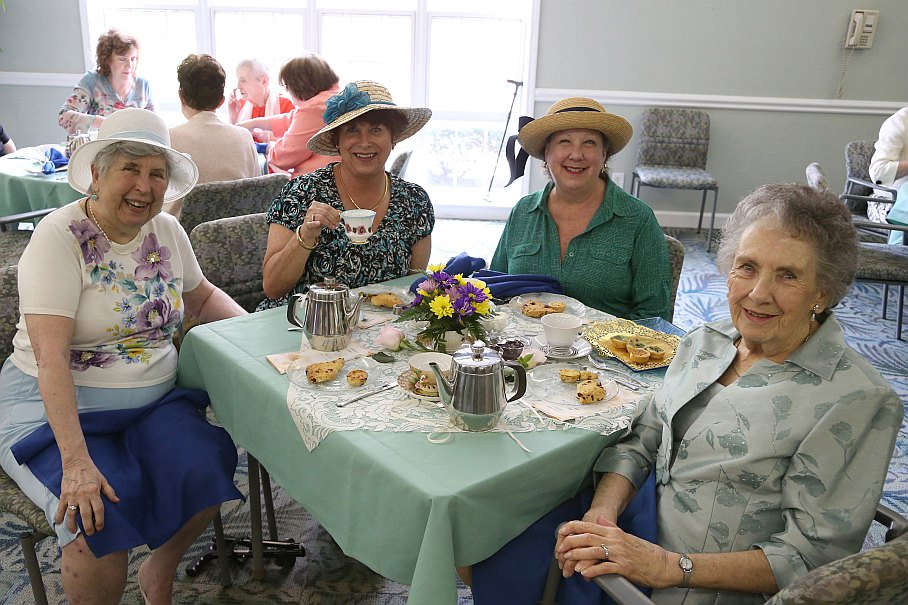 Residents and guests filled Oakwood Common's Rotunda Room and Dining Room for the Mother's Day Tea.