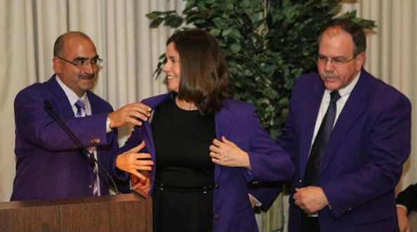 PURPLE COAT AWARD - Justice Bridget  McCormack is shown in the photo above, with Wayne County Circuit Judge David Allen, the 2012 honoree, and Judge Jim Rashid