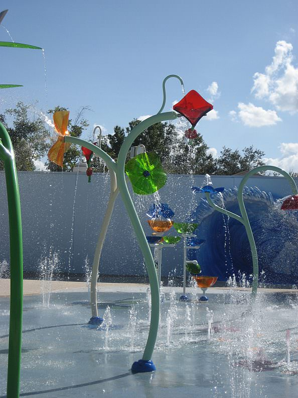 Children will enjoy the fun water features in the new splashpad coming to Hemlock Park this summer. More than 20 colorful and imaginative structures, like the ones illustrated here, will inspire energetic play and keep children cool.