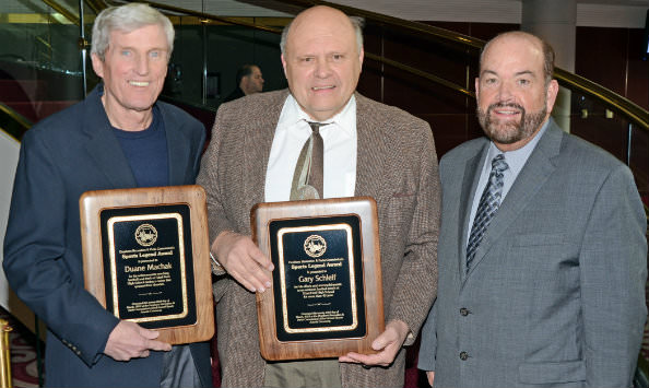 Honored at the Recreation and Parks Department's annual Sports Awards were   newly inducted Sports Legends (from left) Duane Machak and Gary Schleif, who   were congratulated by Mayor John B. O'Reilly, Jr.
