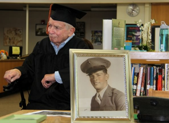 Mr.Cox then as a young Marine in 1943 and now as a proud graduate of Dearborn High.