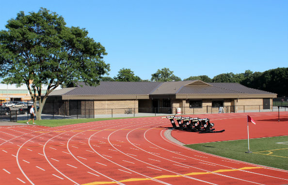 The new Field House at Edsel Ford is located at the north end of the field.