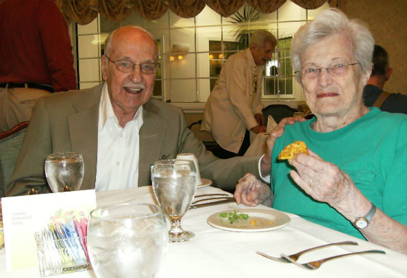 Residents Sylvia and Bob Rock enjoyed the live presentation and the fresh taste of tostones.