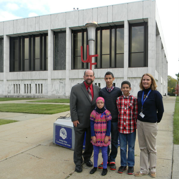 During the City of Dearborn's annual torch lighting ceremony for United Way, Mayor   John B. O'Reilly, Jr. was assisted by Alaa Salame, a fifth-grader at Snow Elementary   School. Salame (second from left), was joined by her brothers Aimann (center) and Ahmad   (second from right), and her teacher Allison Dumke (right).