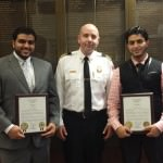Fire Chief Joe Murray honored brothers Abdullah Ali Baadani, 19, and Hassen Ali Baadani, 25 on Oct. 7 who came to the aid of a burn victim on Sept. 24.
